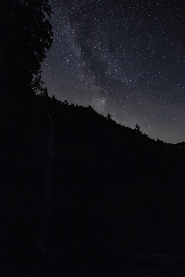 Kaaterskill falls, in the darkness.